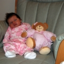 Sara and her pink bear make a good pair